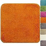 PROHEIM Badematte 50 x 50 cm Rutschfester WC-Vorleger Premium Badteppich 1200 g/m² weich & kuschelig Hochflor Duschvorleger, Farbe:Orange