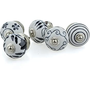 meubles bouton lot de 5 boutons de meuble 5 5008 noir blanc c ramique porcelaine peinte la. Black Bedroom Furniture Sets. Home Design Ideas