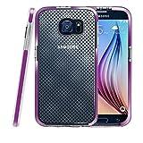 Galaxy S6 Hülle, Fintie [Schlankes Schild Serie] Samsung Galaxy S6 [Ultradünne] Premium Hybrid stoßfeste Schutzhülle Etui Case mit kariertem Muster Rückseite Schale, Lila
