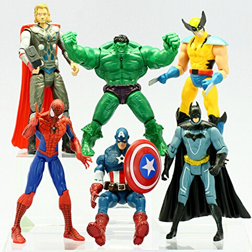 Image of Newest 6 pcs Avengers super hero Action Figures Hulk spiderman thor Batman Wolverine Captain America Iron Man Set of 6 PVC Dolls for Collector