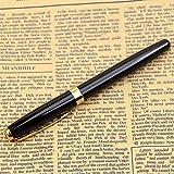 HeroNeo® Classic BAOER 388 Stainless Steel Fountain Pen Golden Trim M Nib (Black barrel)