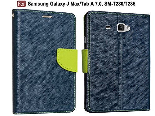 """CEDO Stylish Mercury Magnetic Lock Diary Wallet Style Flip Cover Case for Tablet Samsung Galaxy J Max/Tab A 7.0"""" 7-inch SM-T280/T285(Blue)"""