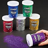 Baker Ross Jumbo Glitter Shakers for Kids Arts and Crafts - Large Glitter Containers Ideal for Crafting in Classrooms, Schools, and Preschools (Pack of 6)