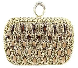 cristal Diamante Soiree Pochette bourse de mariage Parti de bal Sacs Box Clutch Or