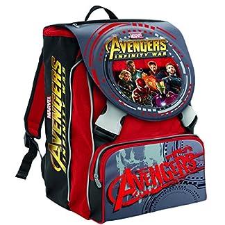 Mochila Escolar Extensible Marvel Avengers Infinity War , Rojo -28 Lt – 2 Salapas in 3d + Gadget Integrado !