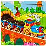 JIUZHOU Multicolore Creative éDucatif Cadeau, puzzle en bois 16 pièces pour les...