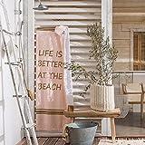 SOLDES DE PRINTEMPS - FOUTA rose à franges 90x160 cm - multifonctions : linge serviette de plage / linge serviette de bain