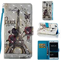 HUAWEI P9 Lite Case, Iddi-Case Fashion Cute Pattern Luxury Pu Leather Wallet Magnetic Design Flip Folio Protective Case Cover with Card Holder - Paris Eiffel Tower