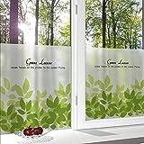 MiniWall Pellicola opaca con rivestimento adesivo glass film Kindergarten bambini Griglie vetri di carta e di stanze da bagno, vetrina fresche foglie verde,preferiti materie prime