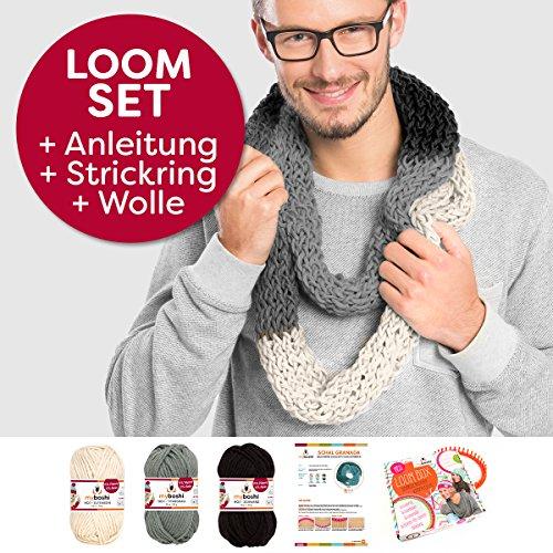 Myboshi Handarbeits-Set Loom-Set Loop-Schal Granada: Strickring + Loom-Anleitung + 3x Strick-Wolle + selfmade Label Farben: (Schwarz, Elfenbein, Titangrau)