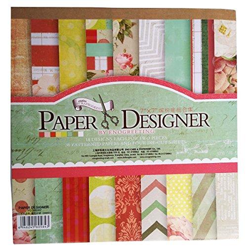 40 Blatt Scrapbooking Papier Gemustertes Karton Bastelpapier mit Vintage Design für DIY Handwerk...