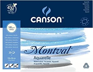 Canson Montval 185 GSM 19 x 24 cm 4 Side Glued Pad of 20 Fine Grain Sheets