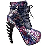 Show Story Purple Punk Design High Heels Snake Pattern Women's High-Top Bone High Heel Platform Knöchel Stiefel, LF80648BZ38, 38EU, Lila