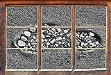 Monocrome, Fußabdruck im Sand Fenster im 3D-Look, Wand- oder Türaufkleber Format: 92x62cm, Wandsticker, Wandtattoo, Wanddekoration