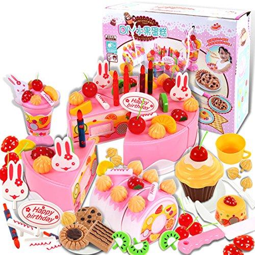 Finer Shop 75Pcs Plástico de la Cocina de Corte de la Torta de Cumpleaños del Juguete Juego de Imaginación Alimentación Conjunto de Juguete para los Niños de las Muchachas -