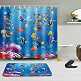LNAG DuschvorhäNge 3D Digital Gedruckte Polyester-Cartoon-Fische Und SchildkröTe , 180*180