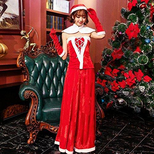 MFFACAI Frauen Sexy Weihnachtsmann Kostüm Anzug Schulterfrei Weihnachten Cosplay Kostüm Outfit