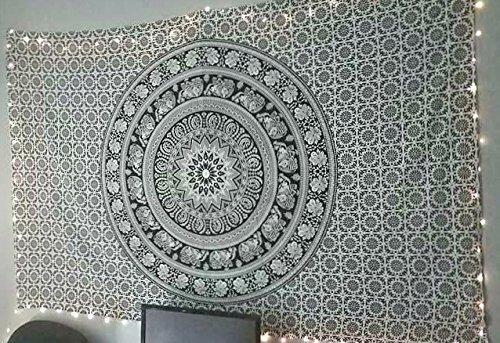 Tapiz de diseño indio Jaipur Handloom, con mándala de elefantes en blanco...