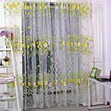 Sunflower Flowers Tulle Pastoral Style Window Screening for Bedroom (Green