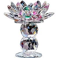 4YANG Coloré Lotus Fleur Cristal Bougeoir, sur Pied Verre Bougies Accessoires Decoration, Cristal Fleur Bougie Chauffe…