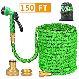 Garden Hose, Homeme 150 Feet Expandable Flexible Magic Hose Pipe Solid Brass Hose Fittings & 7-pattern Spray Gun - Green