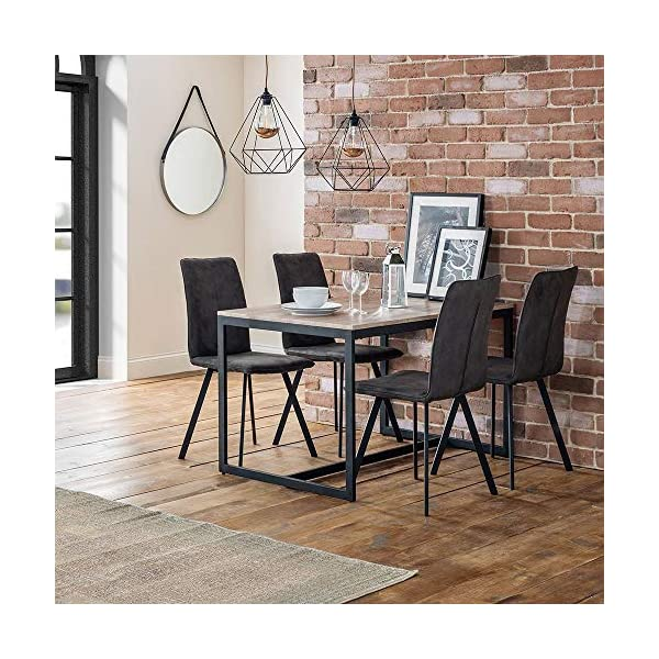 Julian Bowen Tribeca Dining Set with 4 Monroe Chairs Julian Bowen Stunning oak foil Black coated metal frame Three table nest offers great versatility 1