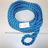 Extremadamente Resistente/rocío, de PP Polipropileno cuerda trenzada, diámetro 20mm, longitud 15m, con correa), color azul, carga de rotura 5200kg.