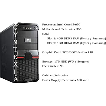 Cyntexia Desktop PC Computer Intel Core i5-650/8 GB DDR3 RAM / 1 TB HDD / 2 GB DDR3 Nvidia 710 Graphic Card/Operating System and Basic Software Installed/Plug and Start