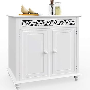 Deuba Kommode weiß Landhausstil mit 2 Türen - Sideboard Holz Schrank  Anrichte Badschrank Badezimmer Bad Flur