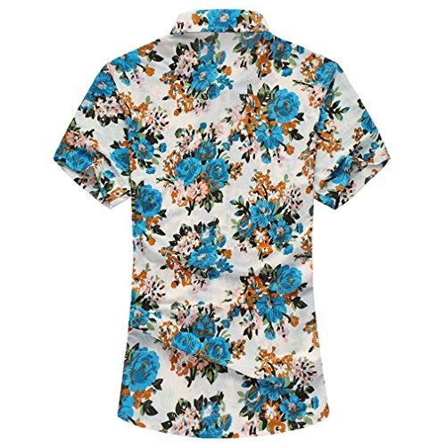 Honghu Herren Sommer Slim Fit Business Kurze Ärmel Hemden Blau