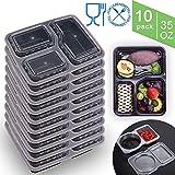 EPHVODI 3 Compartments Fresh Packs Mahlzeitvorbereitung & Vorratsbehälter, Wiederverwendbar, Spülmaschine, Gefrierschrank & Mikrowelle Safe + Saucen (1L, 10 Packungen)