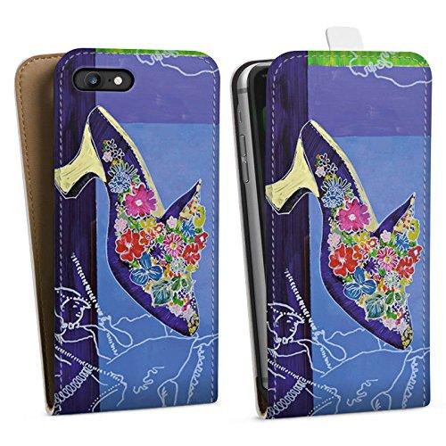 Apple iPhone X Silikon Hülle Case Schutzhülle Schuh Blumen Muster Downflip Tasche weiß