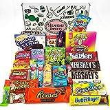Grand panier de bonbons américains | Sélection de confiseries chocolats authentiques | Assortiment inclut Hersheys Reeses Jelly Belly Gobstoppers | Coffret cadeau vintage de 27 pièces