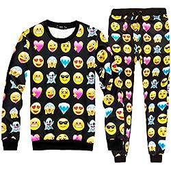 Pijama Emoji Emoticono Confortable Invierno Temporada Moda Mujer Hombre (L, Negro)