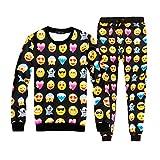 Pijama Emoji Emoticono Confortable Invierno Temporada Moda Mujer Hombre (XXL, Negro)