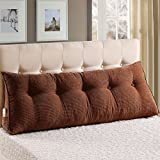 Vercart - Cuscino imbottito triangolare a forma di cuneo, formato grande, per testiera del letto o schienale del divano, con federa sfoderabile, adatto come cuscino per lettura o come supporto lombare per ufficio, Coffee, 31x7.9x19inch (80*25*50cm)