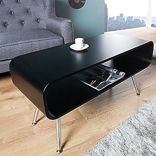 ambientica Wohnzimmertisch Adriano TV-Tisch 90cm Schwarz Seidenmatt/Beine Chrom - Couchtisch Wohnzimmertisch Fernsehtisch