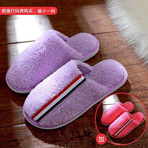 DogHaccd pantofole,Pantofole di cotone femmina inverno spessa coperta coppie maschio soggiorno anti-slittamento peluche caldo pantofole La porpora1