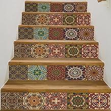 frolahouse arabischen stil keramik fliesen muster treppen aufkleber selbstklebende diy entfernbare wandtattoos 18x100 cm 6 - Tapete Orientalisches Muster