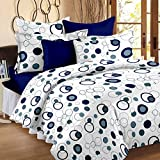 #10: Story@Home Bedsheet for Double Bed With 2 Pillow Covers Combo Set, 100% Cotton - Magic Series, 152 TC, Geometric Circles (Blue and White)