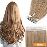 Extension a Bande Adhesive Cheveux Naturel - Tape in Remy Human Hair Extensions (#27 BLOND FONCE, 16 pouces/40cm)