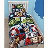 Style It Up Housse de couette Marvel Vengeurs, parure de lit simple, Hulk, Thor, Captain America (lit simple, bouclier des Vengeurs)