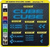 Code 0094- Cube selbstklebend Fahrrad Aufkleber-Kit, 15Aufkleber, Auswahl von Farben - Blu Leggero cod. 053