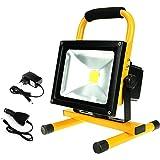 Hirosa Projecteur de Chantier à LED Portable Rechargeable Spot Projecteur Extérieur à LED étanche IP65 - Projecteur pour Intérieur et Extérieur Lumière Blanche
