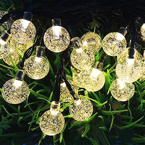 iRegro 2016 Más Reciente solar al aire libre Cadena de luces LED Globo, Luz Led con 30 LED blanco bolas de cristal para la decoración (Blanco
