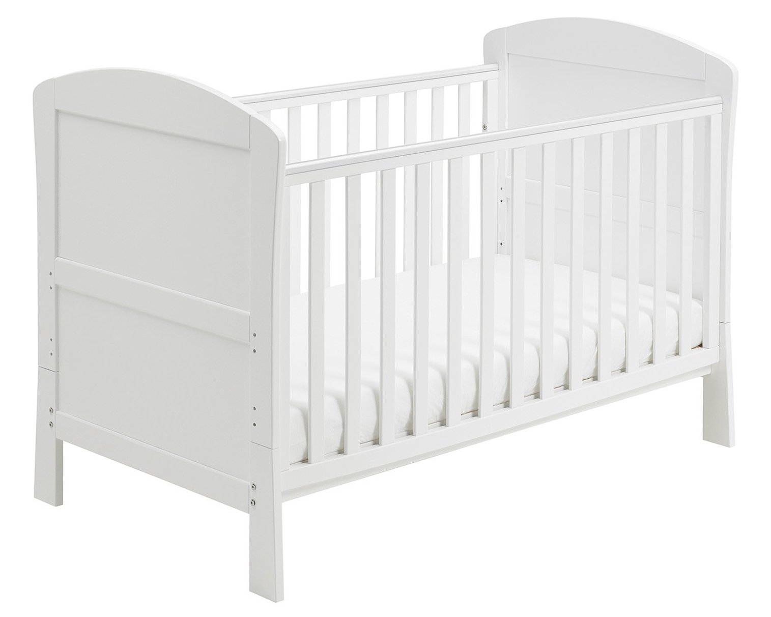 Babymore Aston Drop Side Cot Bed (White) with Foam Mattress  2 protective teething rails 3 base heights 1 drop side, 1 fixed side 3