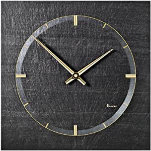 Vaerst 2726 Horloge murale à quartz en ardoise naturelle Bicolore