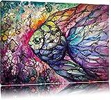 Bunte Fische Kunst Format: 100x70 auf Leinwand, XXL riesige Bilder fertig gerahmt mit Keilrahmen, Kunstdruck auf Wandbild mit Rahmen, günstiger als Gemälde oder Ölbild, kein Poster oder Plakat