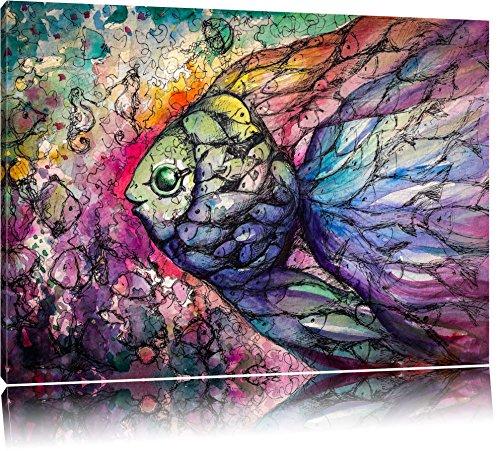 Bunte Fische Kunst Format: 120x80 auf Leinwand, XXL riesige Bilder fertig gerahmt mit Keilrahmen, Kunstdruck auf Wandbild mit Rahmen, günstiger als Gemälde oder Ölbild, kein Poster oder Plakat