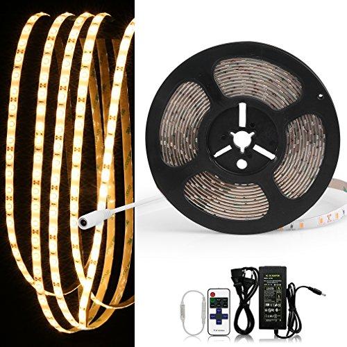 Anten® hochwertiger SMD 5630 Dimmbar Wasserdicht Warmweiß 5M LED Streifen Strip LED Schlauch IP20 DC 12V 10500LM 300LED Lichtschläuche Lichtschläuche mit Fernbedienung + Netzteil für den Außenbereich